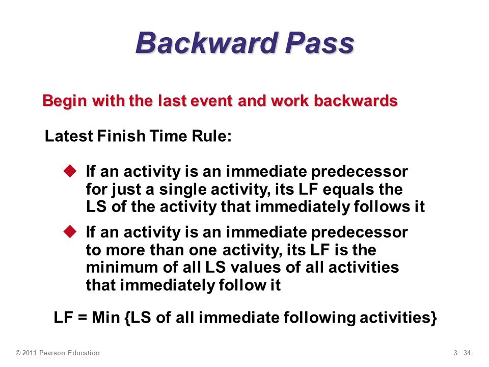 3 - 34© 2011 Pearson Education Backward Pass Begin with the last event and work backwards Latest Finish Time Rule:  If an activity is an immediate predecessor for just a single activity, its LF equals the LS of the activity that immediately follows it  If an activity is an immediate predecessor to more than one activity, its LF is the minimum of all LS values of all activities that immediately follow it LF = Min {LS of all immediate following activities}