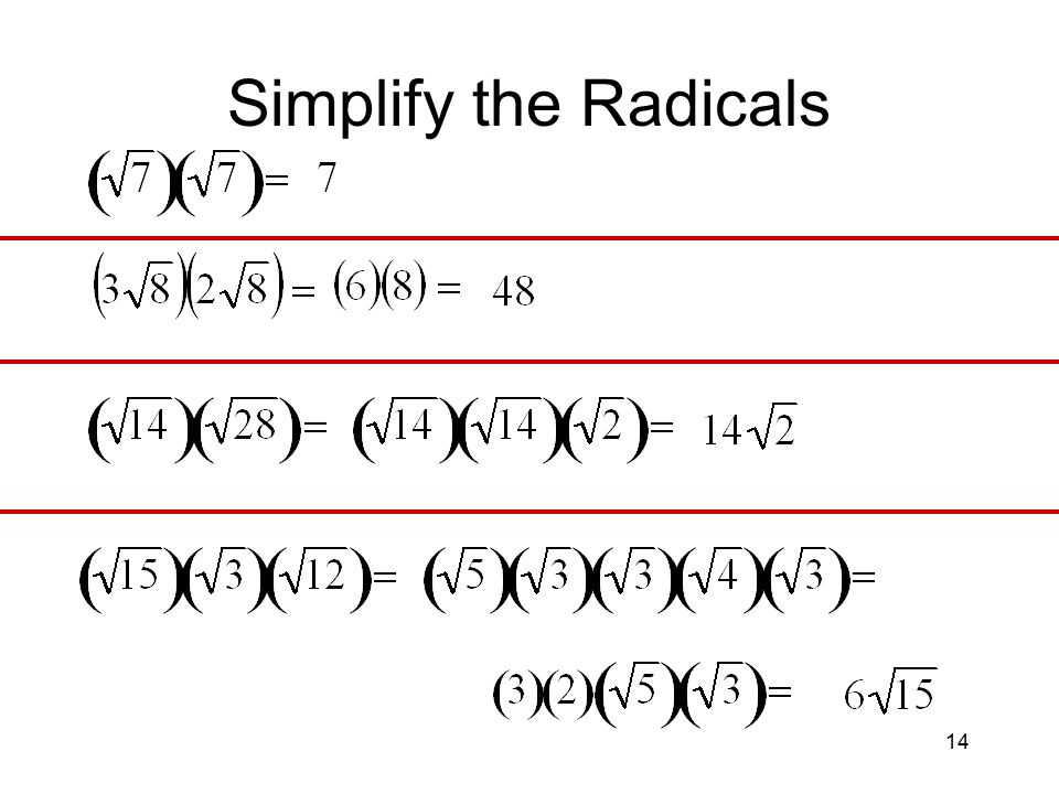 14 Simplify the Radicals