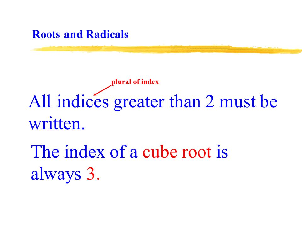 The index of a cube root is always 3. All indices greater than 2 must be written.