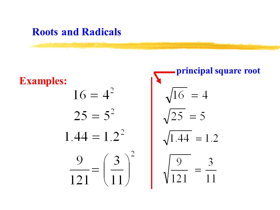 Examples: principal square root Roots and Radicals