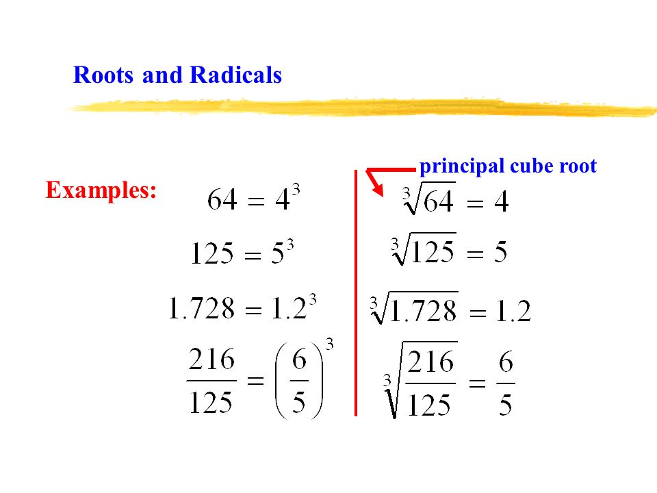 Examples: Roots and Radicals principal cube root