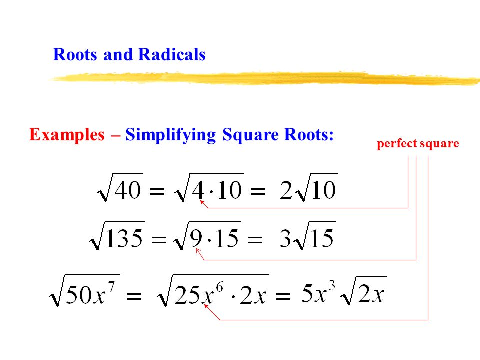 Examples – Simplifying Square Roots: perfect square Roots and Radicals