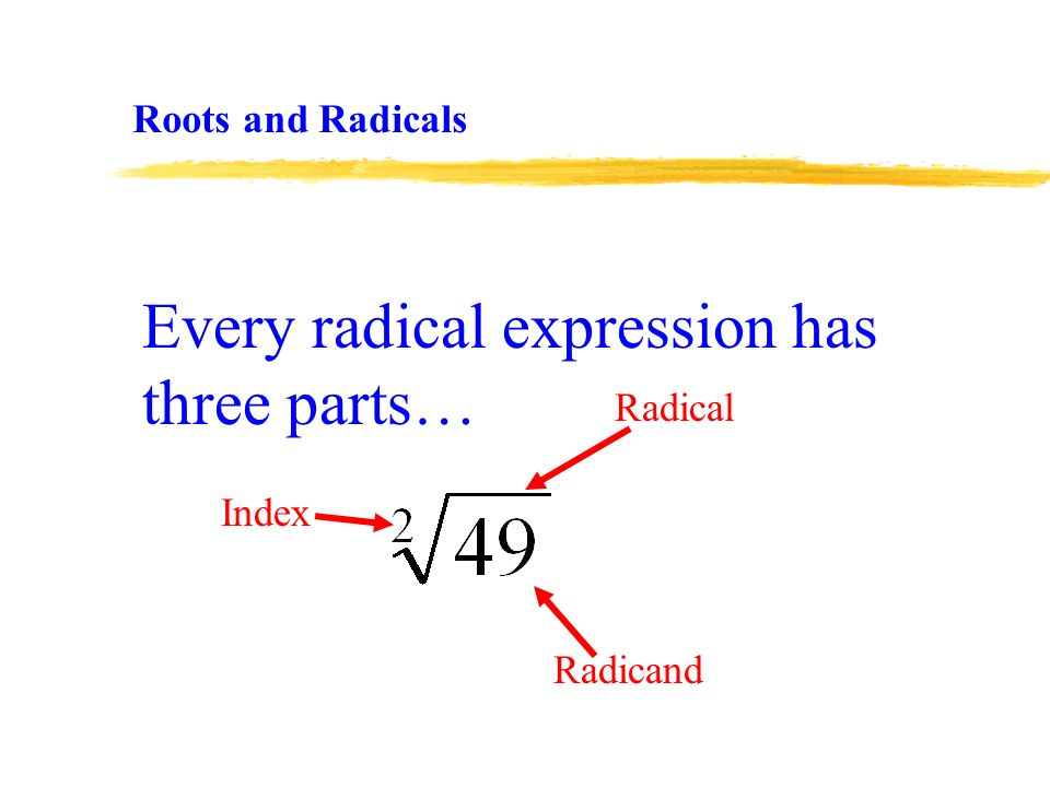 Every radical expression has three parts… Index Radicand Radical Roots and Radicals