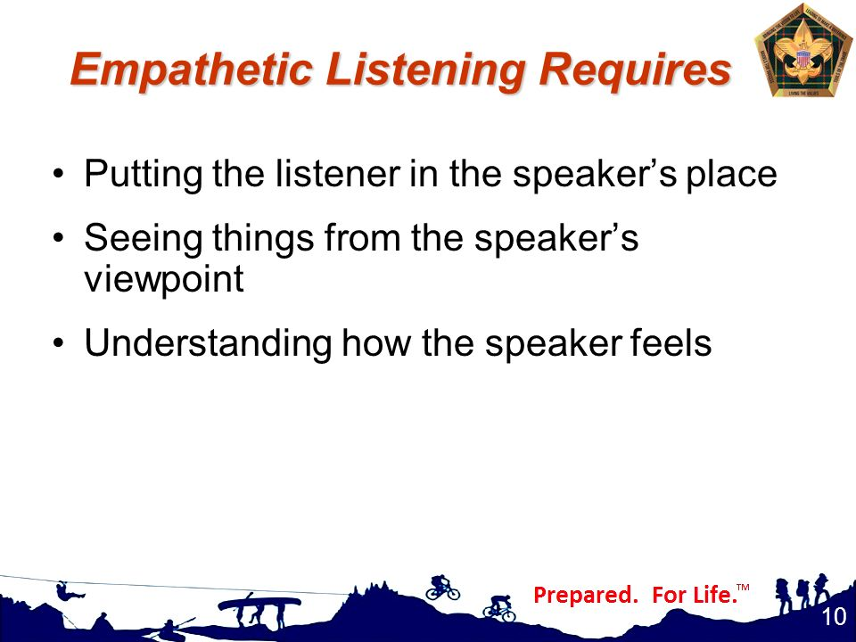 Empathetic Listening Requires Putting the listener in the speaker's place Seeing things from the speaker's viewpoint Understanding how the speaker fee