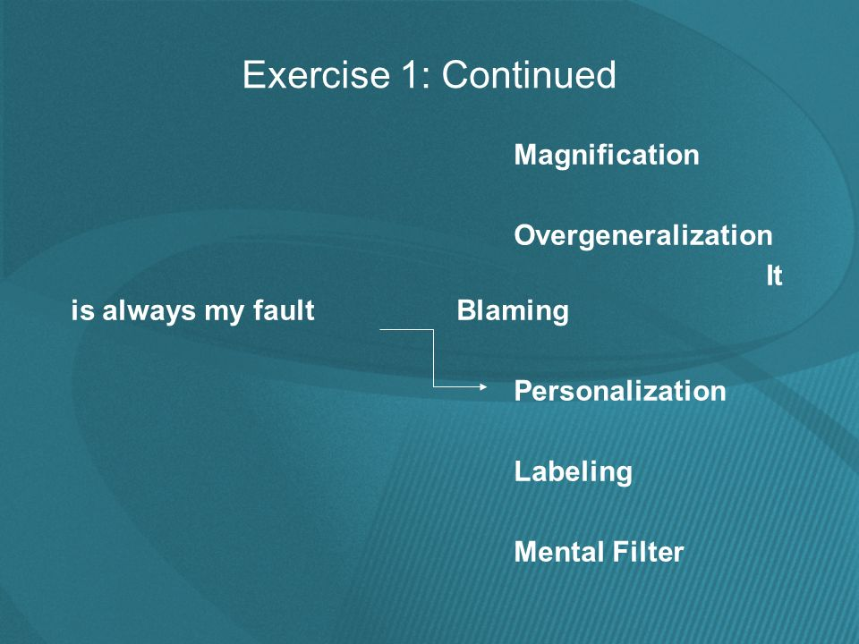 Exercise 1: Continued Magnification Overgeneralization It is always my fault Blaming Personalization Labeling Mental Filter