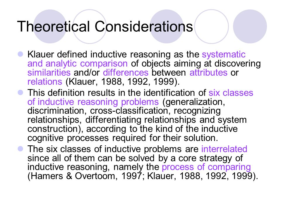 Theoretical Considerations Klauer defined inductive reasoning as the systematic and analytic comparison of objects aiming at discovering similarities and/or differences between attributes or relations (Klauer, 1988, 1992, 1999).