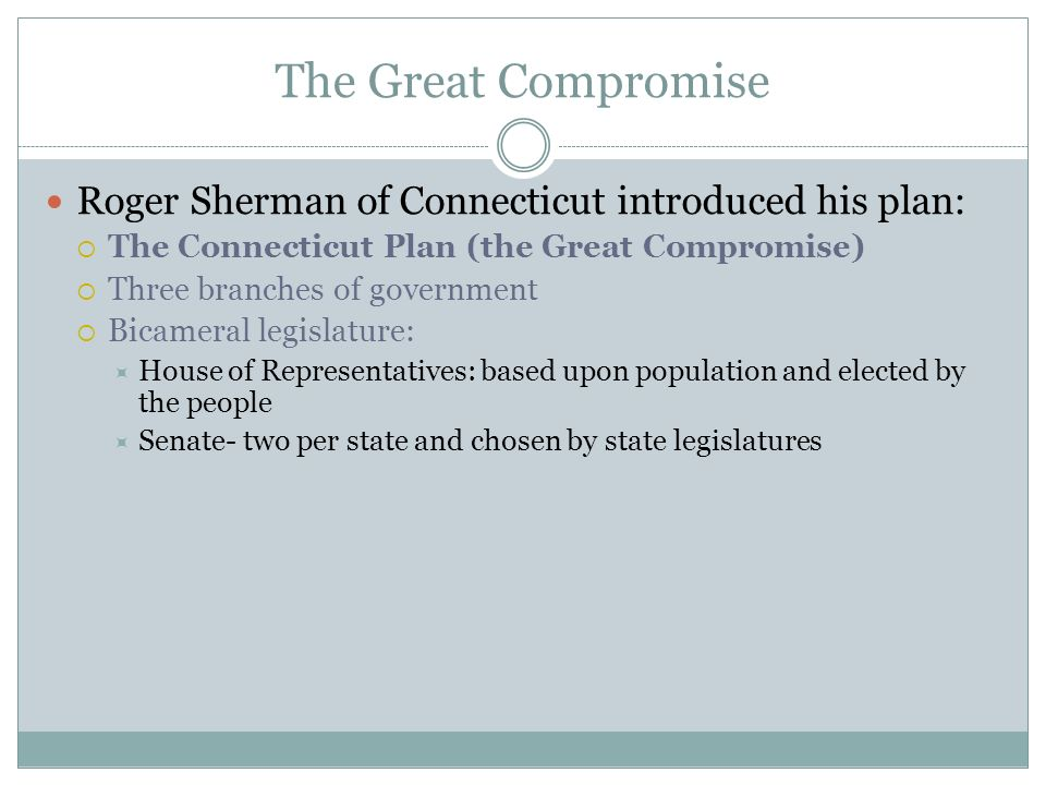 The Great Compromise Roger Sherman of Connecticut introduced his plan:  The Connecticut Plan (the Great Compromise)  Three branches of government  Bicameral legislature:  House of Representatives: based upon population and elected by the people  Senate- two per state and chosen by state legislatures