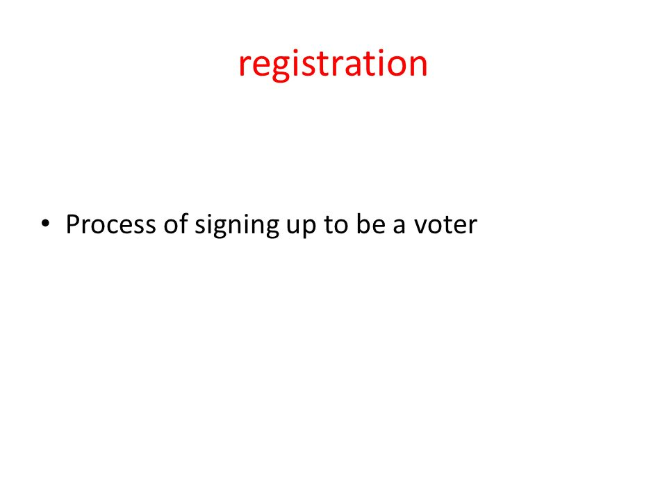 registration Process of signing up to be a voter