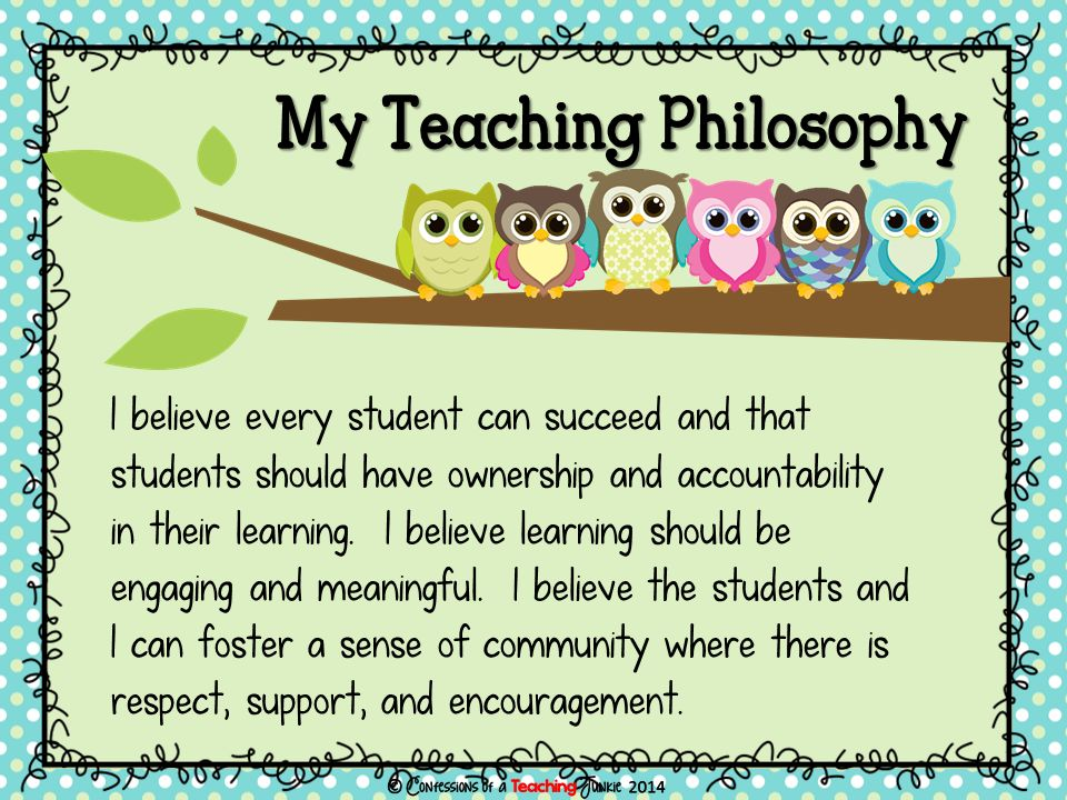 My Teaching Philosophy I believe every student can succeed and that students should have ownership and accountability in their learning.
