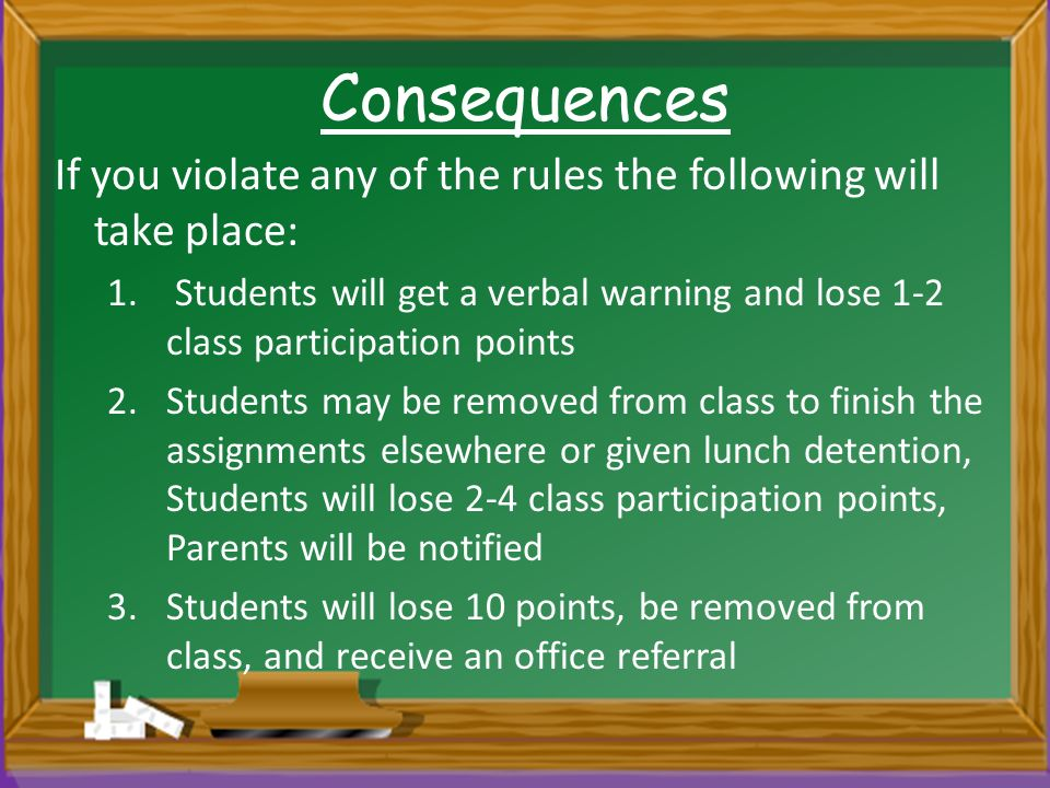 Consequences If you violate any of the rules the following will take place: 1.