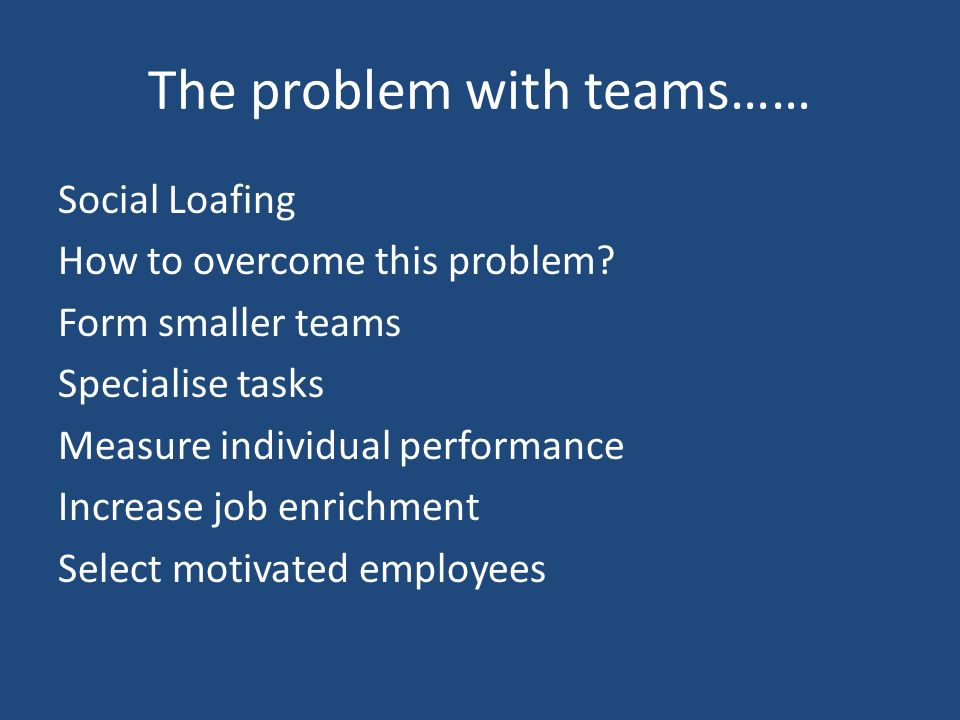 The problem with teams…… Social Loafing How to overcome this problem.