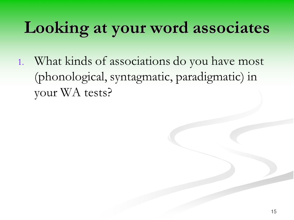 Looking at your word associates 1. 1.