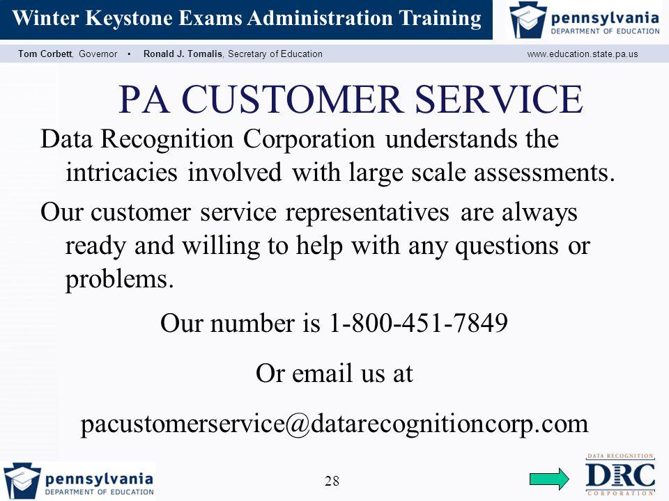 Assessment Coordinator Training Tom Corbett, Governor ▫ Ronald J.