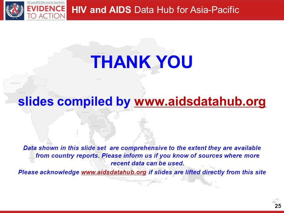 HIV and AIDS Data Hub for Asia-Pacific THANK YOU slides compiled by www.aidsdatahub.orgwww.aidsdatahub.org Data shown in this slide set are comprehensive to the extent they are available from country reports.