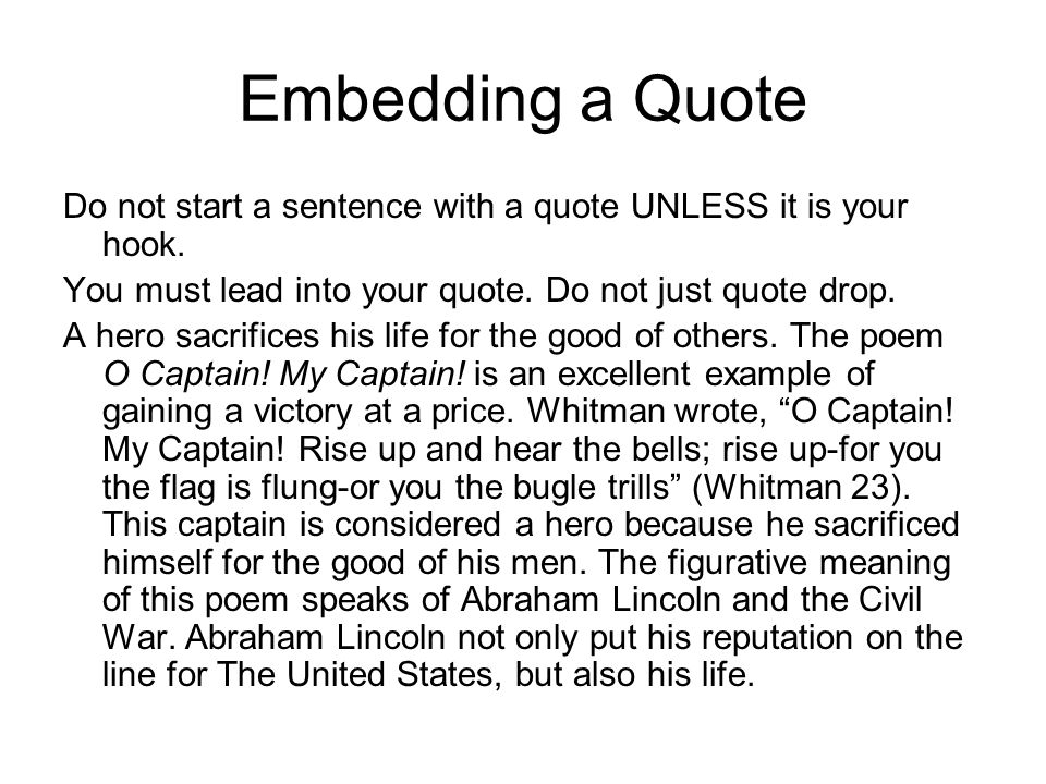 Starting an essay with a quote