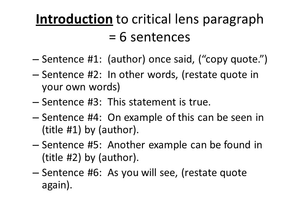 Who said this quote (critical lens essay)?