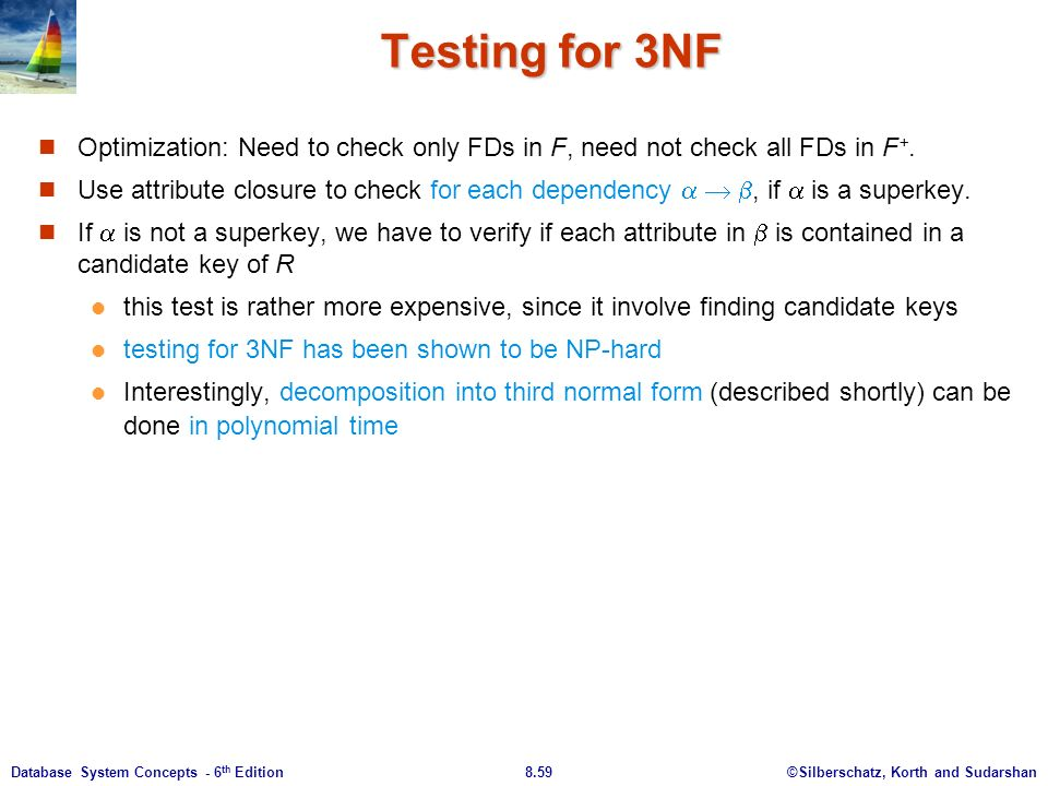 ©Silberschatz, Korth and Sudarshan8.59Database System Concepts - 6 th Edition Testing for 3NF Optimization: Need to check only FDs in F, need not check all FDs in F +.