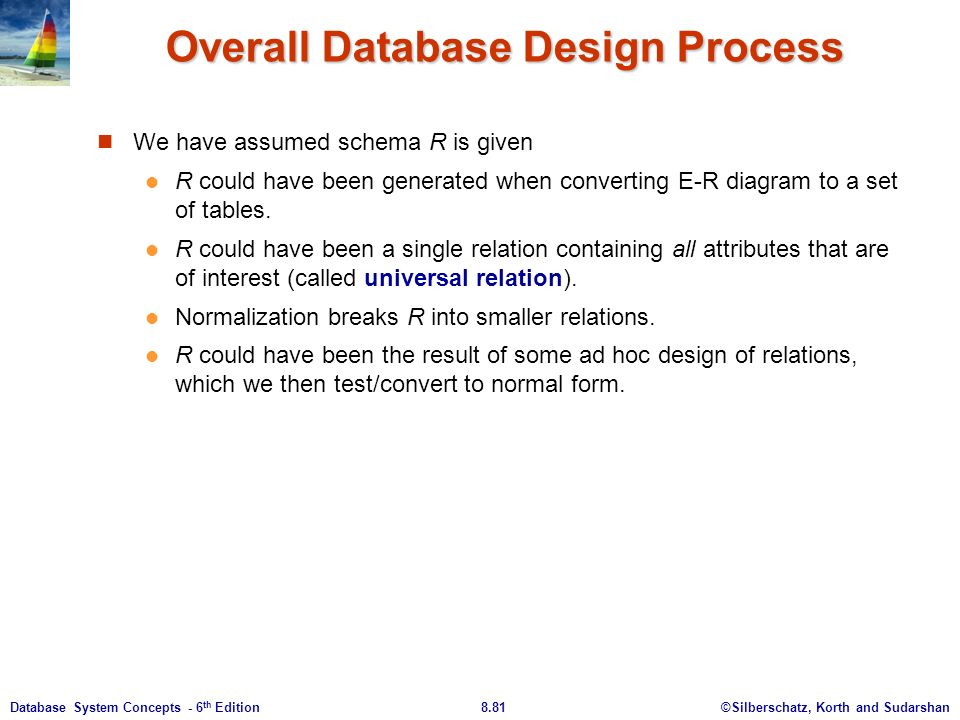 ©Silberschatz, Korth and Sudarshan8.81Database System Concepts - 6 th Edition Overall Database Design Process We have assumed schema R is given R could have been generated when converting E-R diagram to a set of tables.