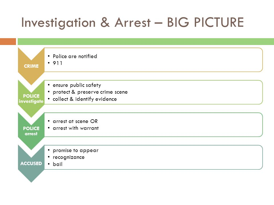 Investigation & Arrest – BIG PICTURE CRIME Police are notified 911 POLICE investigate ensure public safety protect & preserve crime scene collect & identify evidence POLICE arrest arrest at scene OR arrest with warrant ACCUSED promise to appear recognizance bail