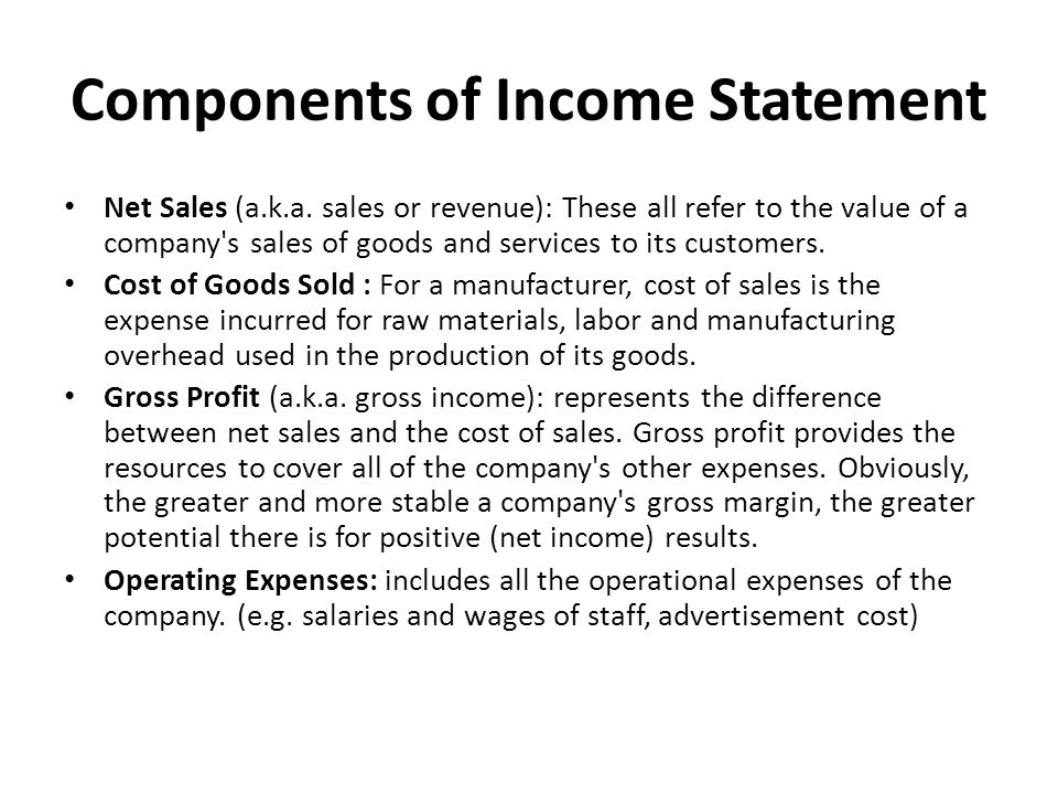Components Of Income Statement. Income Statement Components<Br