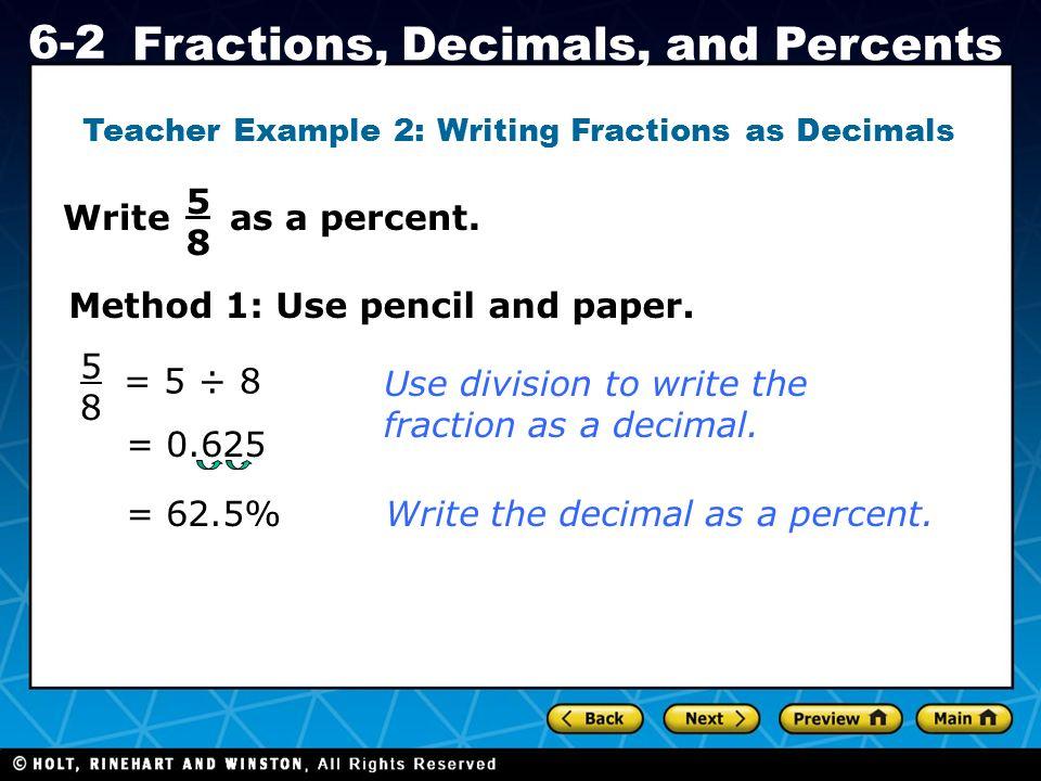 Fractions decimals percents worksheets grade 6