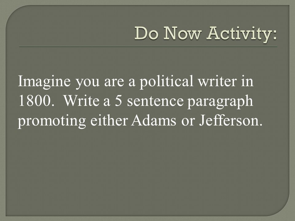Imagine you are a political writer in 1800.