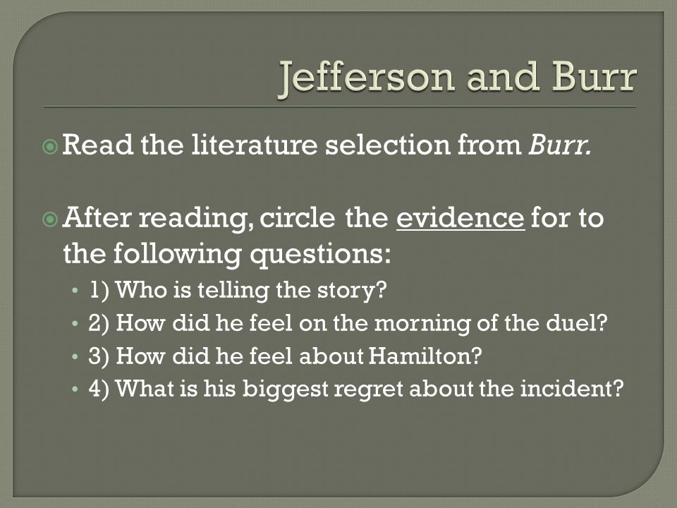  Read the literature selection from Burr.