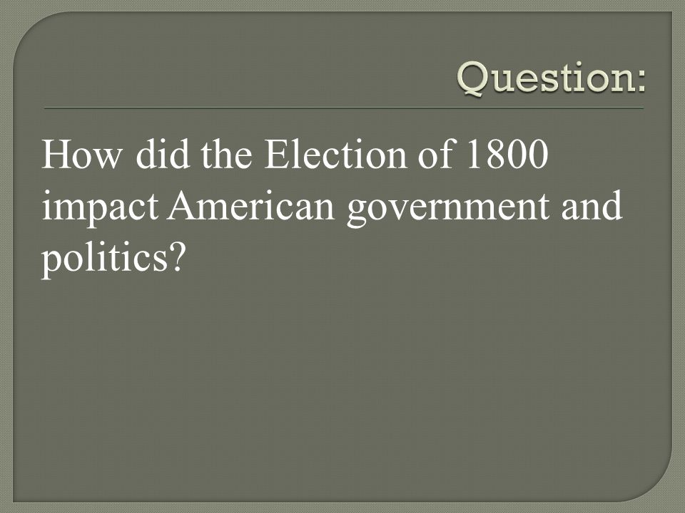 How did the Election of 1800 impact American government and politics