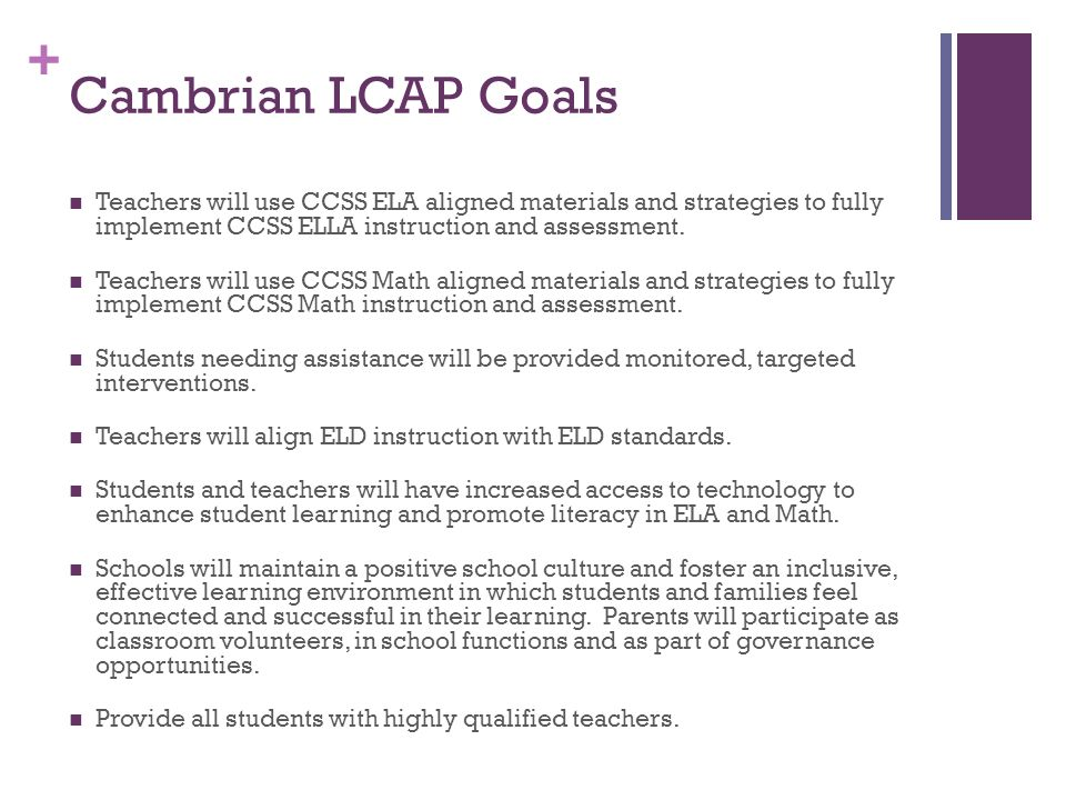 + Cambrian LCAP Goals Teachers will use CCSS ELA aligned materials and strategies to fully implement CCSS ELLA instruction and assessment.