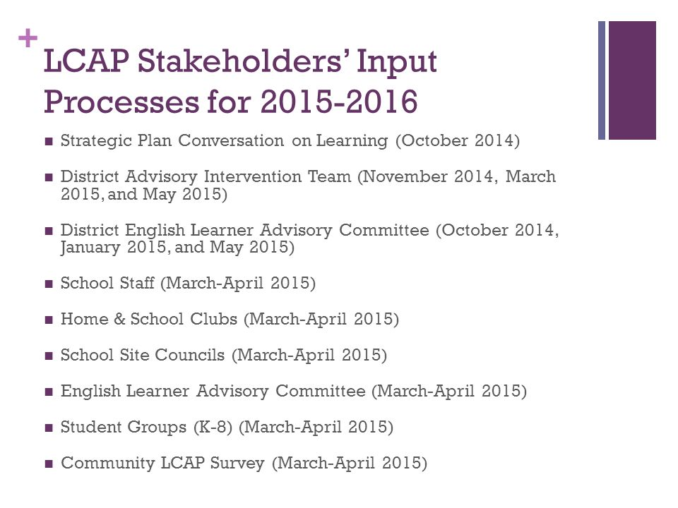 + LCAP Stakeholders' Input Processes for Strategic Plan Conversation on Learning (October 2014) District Advisory Intervention Team (November 2014, March 2015, and May 2015) District English Learner Advisory Committee (October 2014, January 2015, and May 2015) School Staff (March-April 2015) Home & School Clubs (March-April 2015) School Site Councils (March-April 2015) English Learner Advisory Committee (March-April 2015) Student Groups (K-8) (March-April 2015) Community LCAP Survey (March-April 2015)