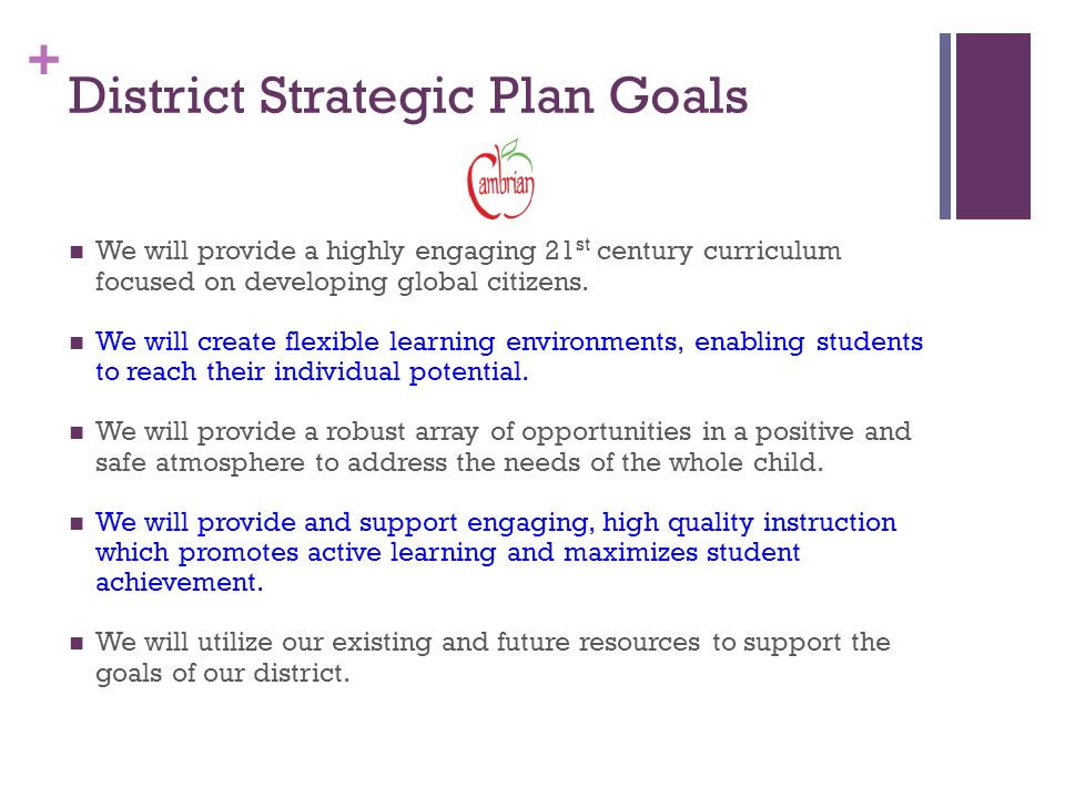 + District Strategic Plan Goals We will provide a highly engaging 21 st century curriculum focused on developing global citizens.