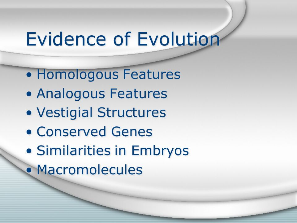 Evidence of Evolution Homologous Features Analogous Features Vestigial Structures Conserved Genes Similarities in Embryos Macromolecules Homologous Features Analogous Features Vestigial Structures Conserved Genes Similarities in Embryos Macromolecules