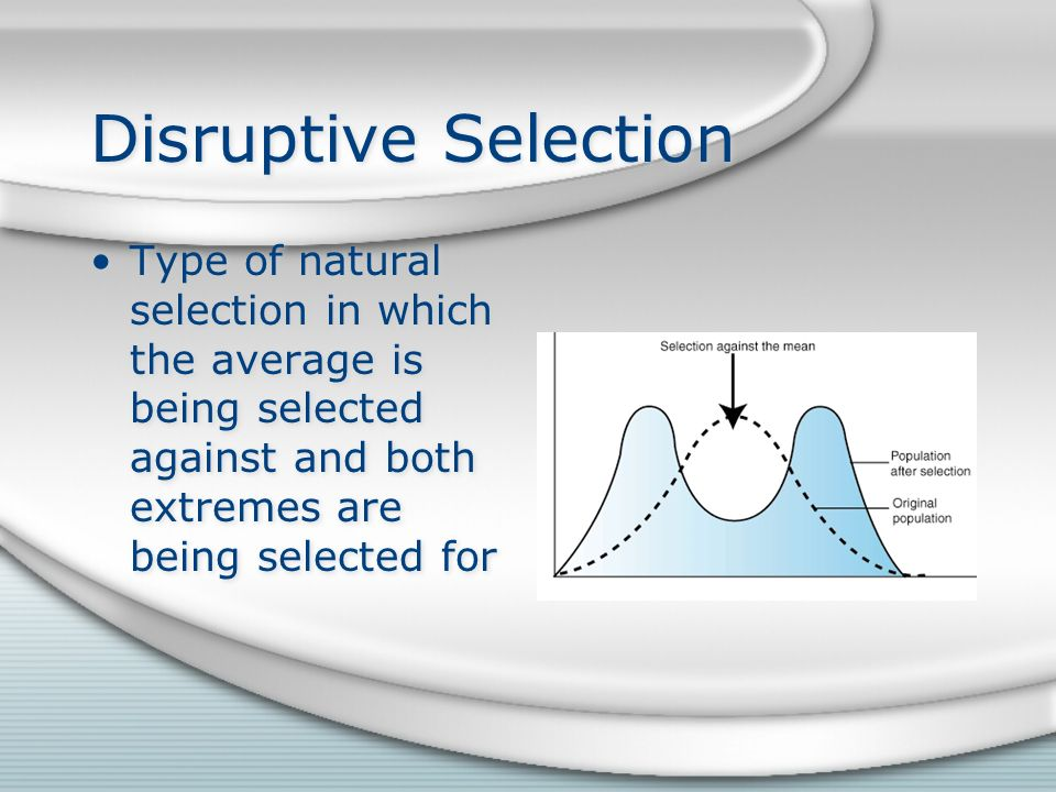 Disruptive Selection Type of natural selection in which the average is being selected against and both extremes are being selected for