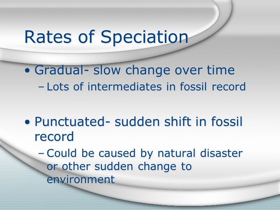 Rates of Speciation Gradual- slow change over time –Lots of intermediates in fossil record Punctuated- sudden shift in fossil record –Could be caused by natural disaster or other sudden change to environment Gradual- slow change over time –Lots of intermediates in fossil record Punctuated- sudden shift in fossil record –Could be caused by natural disaster or other sudden change to environment
