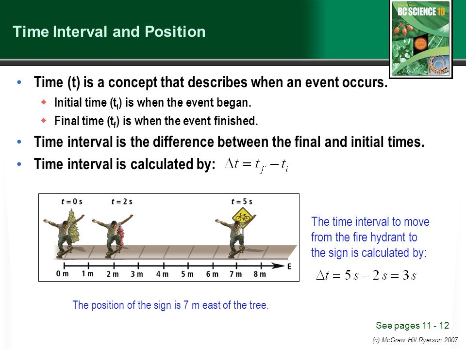 (c) McGraw Hill Ryerson 2007 Time Interval and Position Time (t) is a concept that describes when an event occurs.