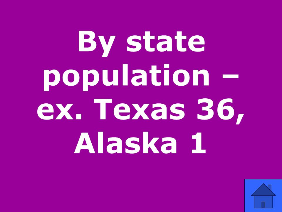 By state population – ex. Texas 36, Alaska 1