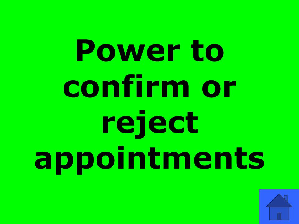 Power to confirm or reject appointments