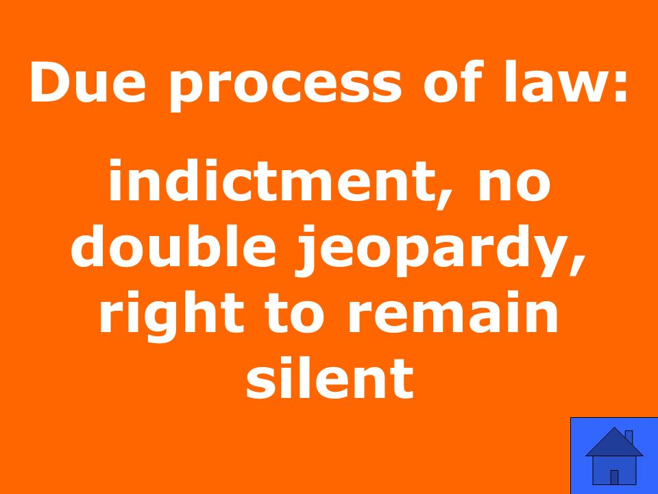 Due process of law: indictment, no double jeopardy, right to remain silent