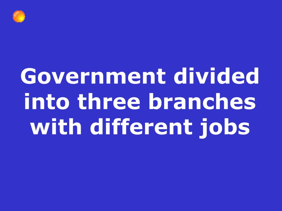 Government divided into three branches with different jobs