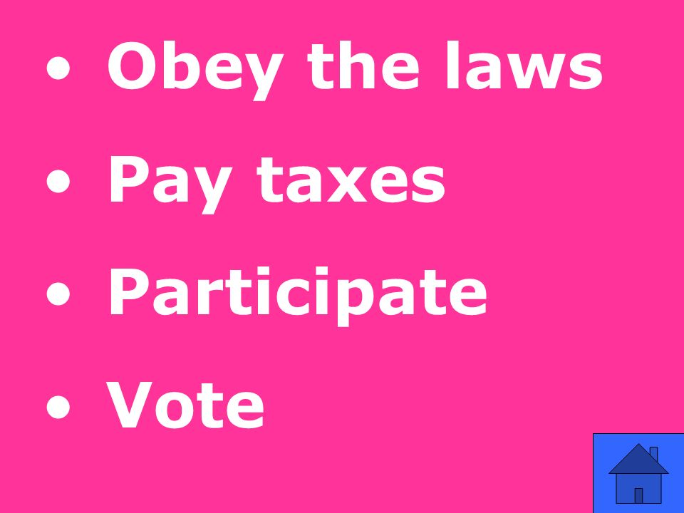 Obey the laws Pay taxes Participate Vote