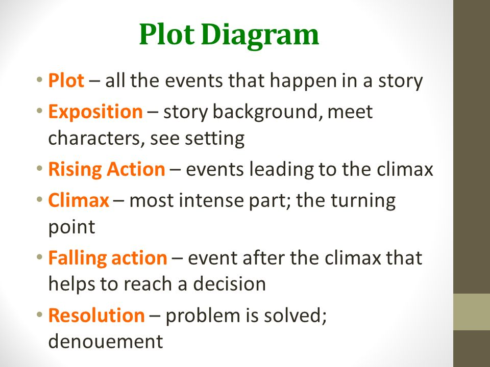Literary Elements. DAY 1 Plot Diagram Plot – all the events that ...