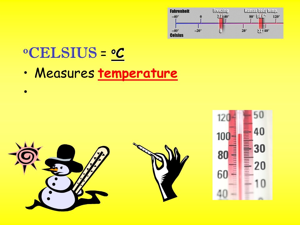 o C o CELSIUS = o C Measures temperature