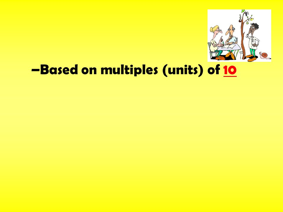 –Based on multiples (units) of 10
