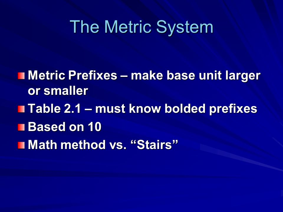 The Metric System Metric Prefixes – make base unit larger or smaller Table 2.1 – must know bolded prefixes Based on 10 Math method vs.