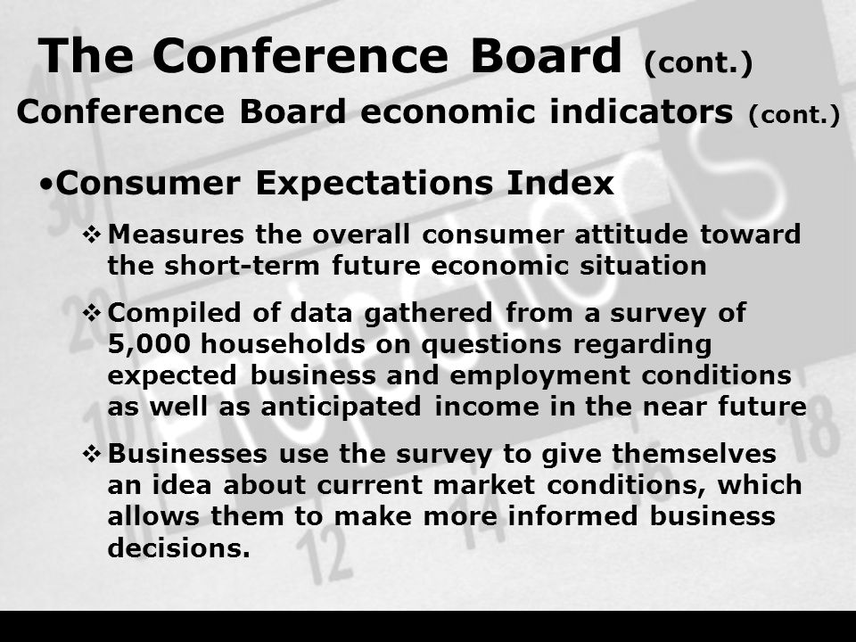 The Conference Board (cont.) Conference Board economic indicators (cont.) Consumer Expectations Index  Measures the overall consumer attitude toward the short-term future economic situation  Compiled of data gathered from a survey of 5,000 households on questions regarding expected business and employment conditions as well as anticipated income in the near future  Businesses use the survey to give themselves an idea about current market conditions, which allows them to make more informed business decisions.