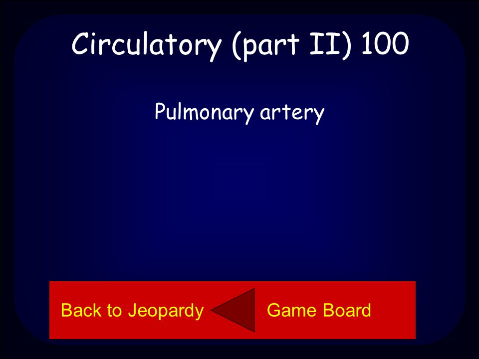 Circulatory (part II) 100 Name the part of the heart. Back to Jeopardy Game Board