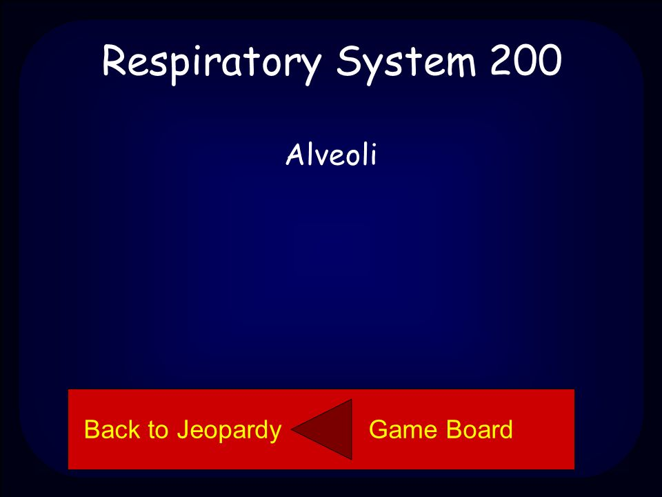 Respiratory System 200 Name the part of the respiratory system. Back to Jeopardy Game Board
