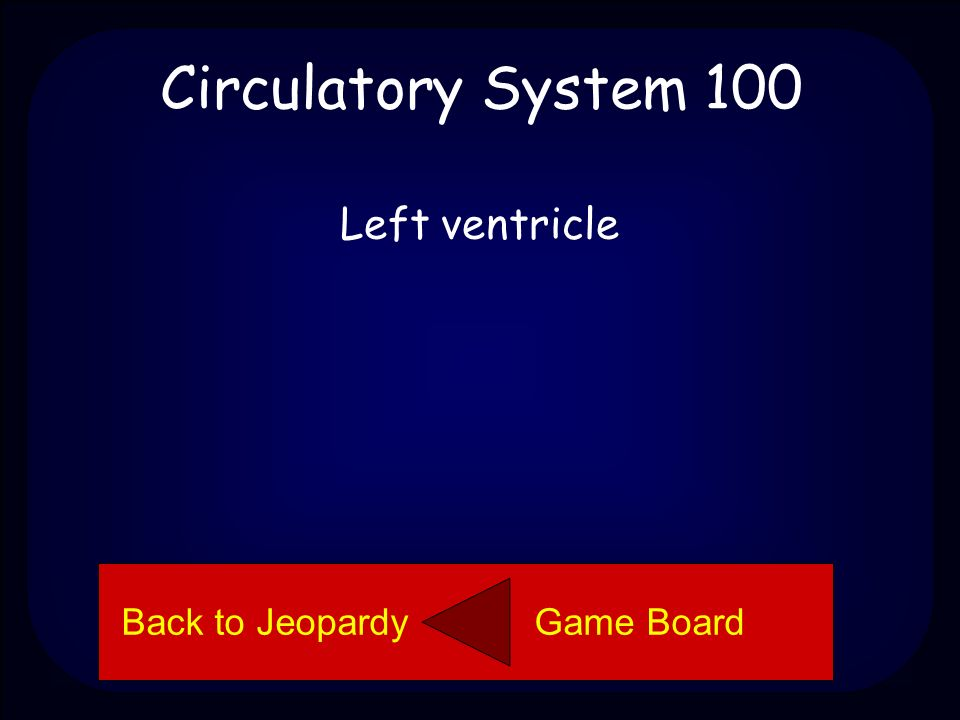 Back to Jeopardy Game Board Circulatory System 100 Name the part of the heart.