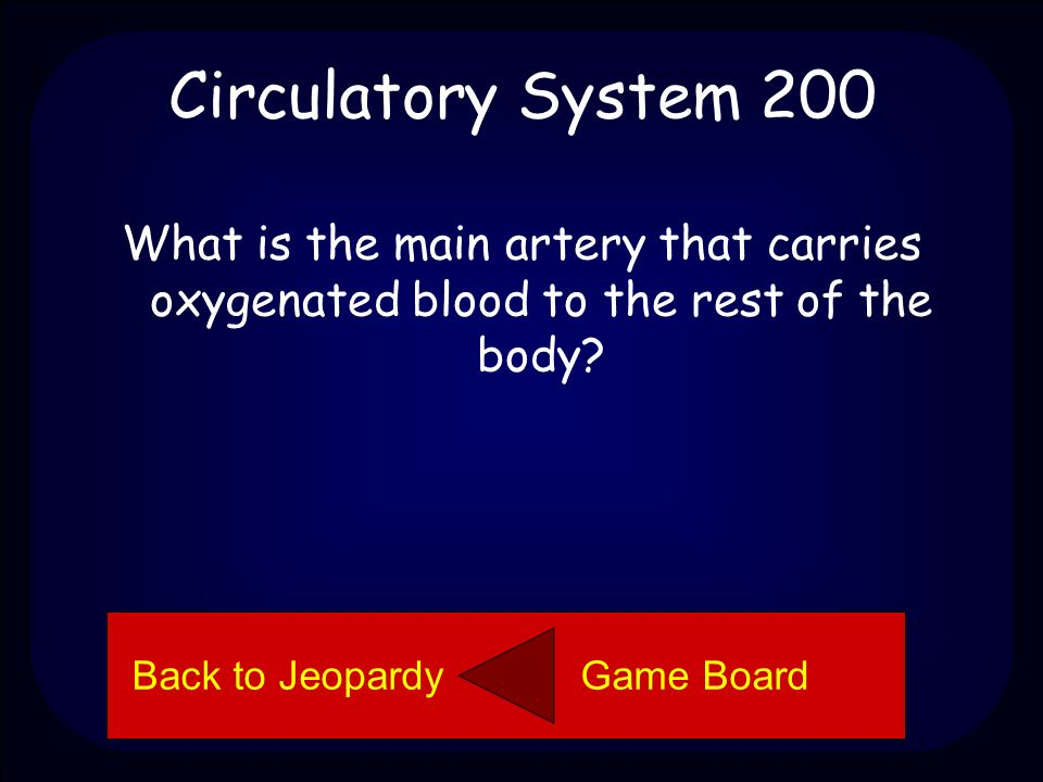 Circulatory System 100 Left ventricle Back to Jeopardy Game Board