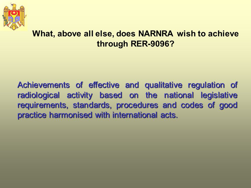What, above all else, does NARNRA wish to achieve through RER-9096.